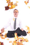Manager in autumn leaves Stock Photos