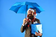 Manager with beard holds blue umbrella. Business and celebration. Concept. Man in smart suit, Santa hat and garlands on head on blue background. Businessman royalty free stock photos