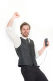 Manager with beard on singing face. Royalty Free Stock Images