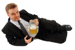 Manager and beer Royalty Free Stock Image