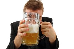 Manager and beer Royalty Free Stock Images
