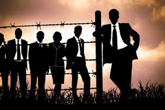 Manager behind Barbed wire Royalty Free Stock Photos