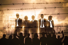 Manager behind Barbed wire. The banking managers behind barbed wire Royalty Free Stock Images