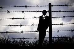 Manager behind Barbed wire Stock Photos