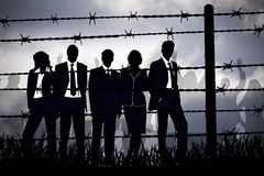 Manager behind Barbed wire. The banking managers behind barbed wire Stock Images