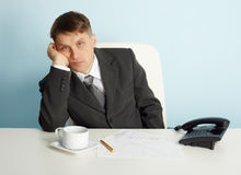 Manager bored in office without job Royalty Free Stock Photo