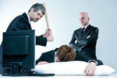 Manager and boss discover lazy employee. Sleeping during day job Royalty Free Stock Photos