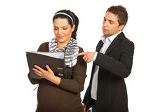 Manager boss with pregnant assistant Royalty Free Stock Photography