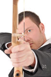 Manager with bow. Manager businessman with longbow aim the target Stock Photography
