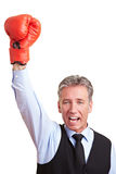 Manager with boxing glove. Sucessful manager cheering with a red boxing glove Stock Photos