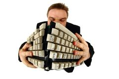 Manager and broken keyboard Royalty Free Stock Images