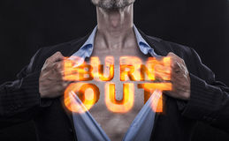 Manager with Burn Out Sign Royalty Free Stock Photos