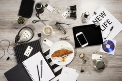 Manager business tabletop with office objects Stock Photos