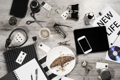Manager business tabletop with office objects Stock Images