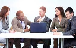 Manager and business team in office royalty free stock photos