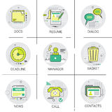 Manager Business Team Resume icon Set, Deadline, Social Network Communication Call Contacts Docs Collection Stock Images