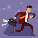 A manager or businessman is late hurry run. Man late for work runs with a suitcase falling paper Businessman run and look on watch Royalty Free Stock Image