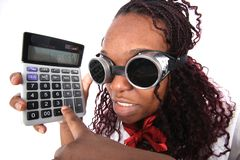 Manager with calculator Stock Photo