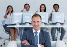 Manager in call center with his team Stock Photography