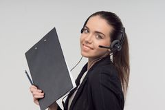 Manager in call center Stock Photo