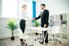 Manager and candidate shaking hands Royalty Free Stock Photography