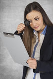 Manager carefully read the documents. Business woman stock image