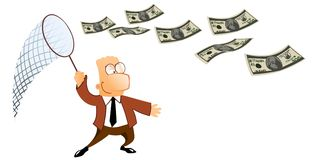 Manager catches a flying dollars Royalty Free Stock Image