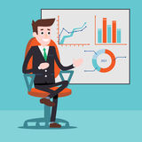 Manager character next to the charts on a whiteboard stock images