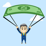 Manager character with parachute out of the dollar Royalty Free Stock Photography