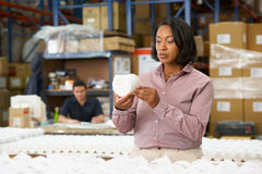 Manager Checking Goods On Production Line. Concentrating Royalty Free Stock Photo