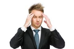 Manager with closed eyes putting hands on head Royalty Free Stock Photos