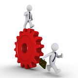 Manager on cog is chasing employee. Person with tie on a cogwheel is chasing businessman Stock Images