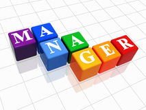 Manager in colour. 3d colour boxes with text - manager, word Stock Image