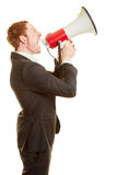 Manager communicating with a megaphone. And motivating Stock Photography