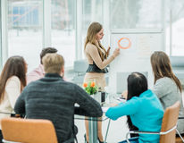 Manager conducts the presentation of the new advertising project Royalty Free Stock Image