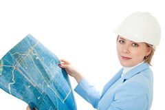 Manager with construction plan Stock Images