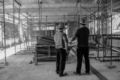 Manager at construction site. Architect ,engineer, project manager at construction site Royalty Free Stock Photography