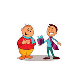 Manager consultant presenting a gift to the client. One of a series of similar images. Vector illustration royalty free illustration