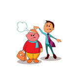 Manager consultant trying to defuse the situation and calm the angry customer. One of a series of similar images stock illustration