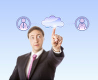 Manager Contacting Female And Male Peer Via Cloud Royalty Free Stock Images