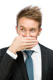 Manager covering mouth with hand Stock Image