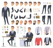 Manager creation kit. Businessman office person arms hands clothes and items vector male character animation project. Illustration of business man creation stock illustration