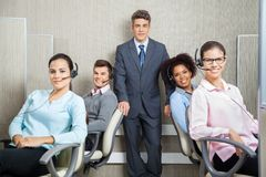 Manager With Customer Service Representatives In Stock Image