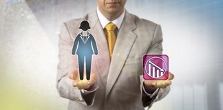 Manager Demoting Female White Collar Worker. Unrecognizable manager demoting one female white collar worker. Human resources management concept for performance Royalty Free Stock Photo