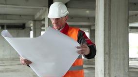 Manager der Arbeiten an der Baustelle stock footage