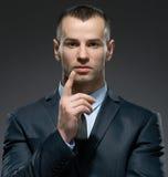 Manager, der Zeigefingergeste macht Stockfotos