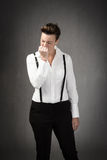 Manager desperation. People emotions and expressions in dark background Stock Images