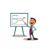Manager die de groei van zaken op karton voorstellen Één van een reeks gelijkaardige beelden Vector Illustratie