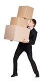Manager die stapel van dozen overhandigt Royalty-vrije Stock Foto