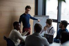 Manager die zich dichtbij flipchart het geven van een presentatie aan personeel of collega's bevinden stock afbeeldingen